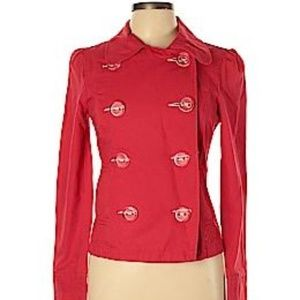 Periscope Jean Jacket Red w Clear buttons size L